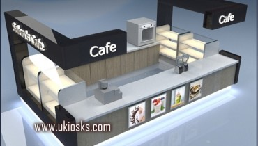 wooden cabinet coffee kiosk design in mall for sale