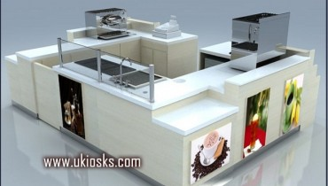 wooden cabinet coffee kiosk design for shopping mall