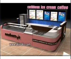 10*12 feet ice cream kiosk & yogurt kiosk design in mall for sale