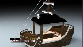boat style coffee kiosk design for outdoor