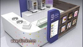 wooden cabinet ice cream kiosk   yogurt kiosk design in mall for sale