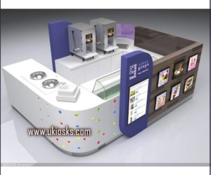 wooden cabinet ice cream kiosk | yogurt kiosk design in mall for sale