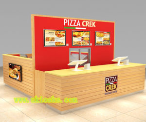 customized 12 by 14 feet pizza kiosk |fast food kiosk for shopping mall