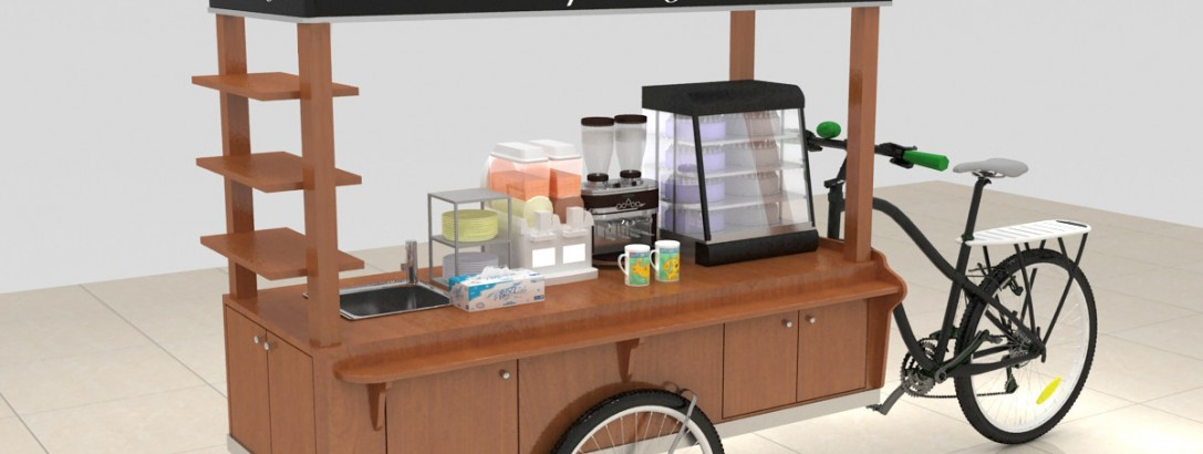 wow, a beautiful coffee cart is coming !!!