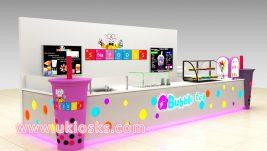 high-end bubble tea kiosk design in mall for sale