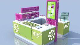customized frozen yogurt kiosk design for sale