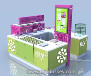 customized frozen yogurt kiosk design for sale