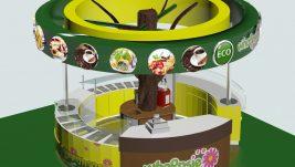 Tree shape juice kiosk design for shopping mall