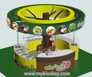 Tree shape juice kiosk design for shopping mall