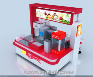 white and red ice cream kiosk with a bar counter