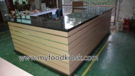 wooden customized juice kiosk for shopping mall