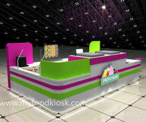 Newest mall food frozen yogurt kiosk design for sale