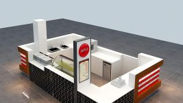 Customized waffle kiosk design for shopping mall