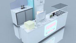 2m by 2m Mini frozen yogurt kiosk design for sale