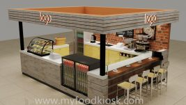 original style customized 3D coffee kiosk design in mall for sale