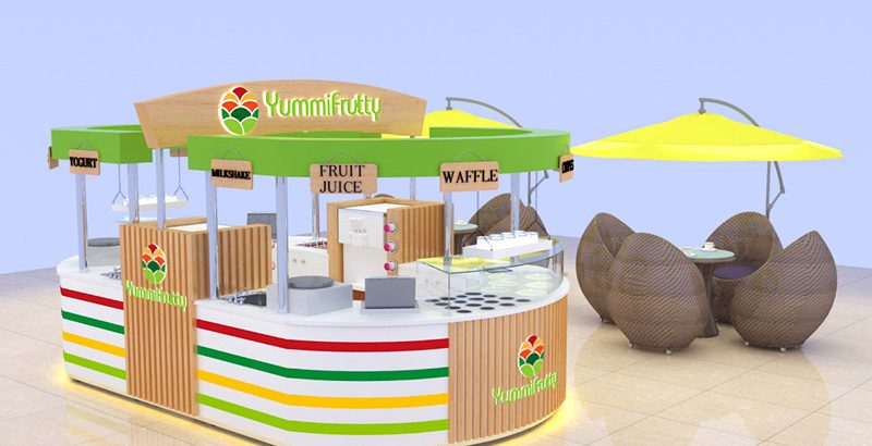 High end Newest mall food frozen yogurt kiosk design is comming