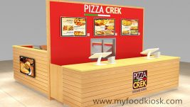 Simple high end customized fast food kiosk for pizza
