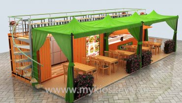 40 feet container shop with fast food kiosk for sale