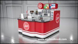 Luxurious mall food ice cream kiosk display showcase design