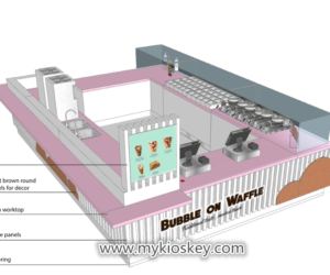 Pink Exquisite ice cream kiosk design for shopping mall