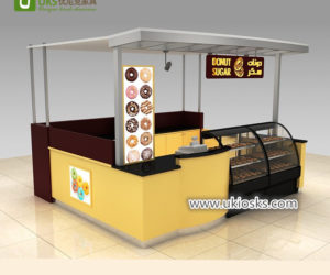 3×3 wooden donut kiosk with bakery display showcase design