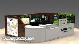 Popular Wooden healthy bubble tea kiosk for shopping mall