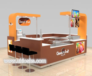 4X3 wooden made chocolate fruit juice bar kiosk for shopping mall