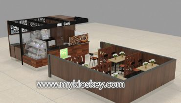Classical coffee shop design with solid wood decoration