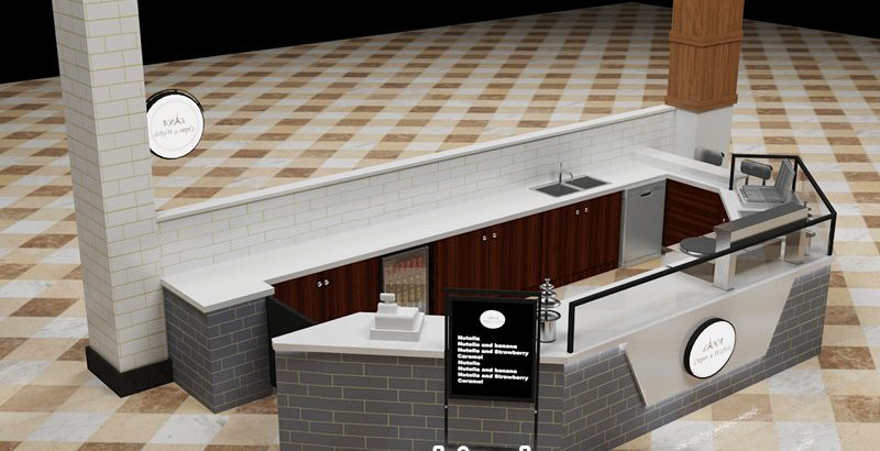Attractive retail mall crepe kiosk for New Zealand
