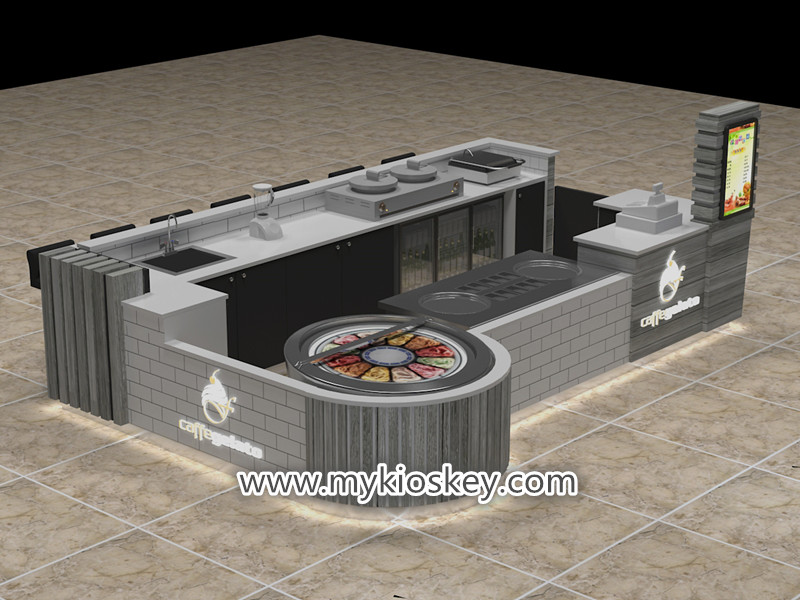 Solid wood mall food fried ice cream kiosk export to UK