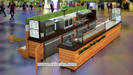 High quality retail mall food juice bar kiosk with wooden counter