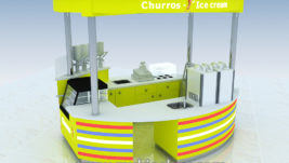 Best selling mall food ice cream kiosk with colorful led light design