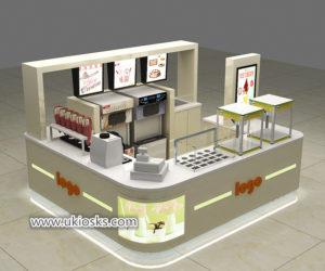 Mall food soft ice cream kiosk with juice bar design