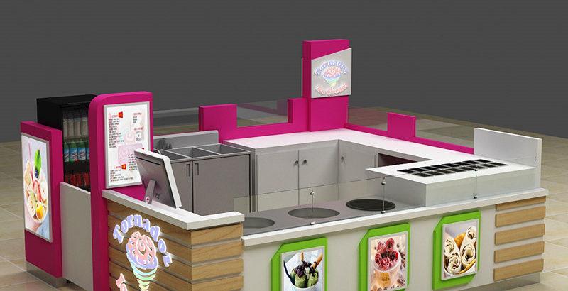 Creativity mall food fried ice cream roll kiosk counter export USA