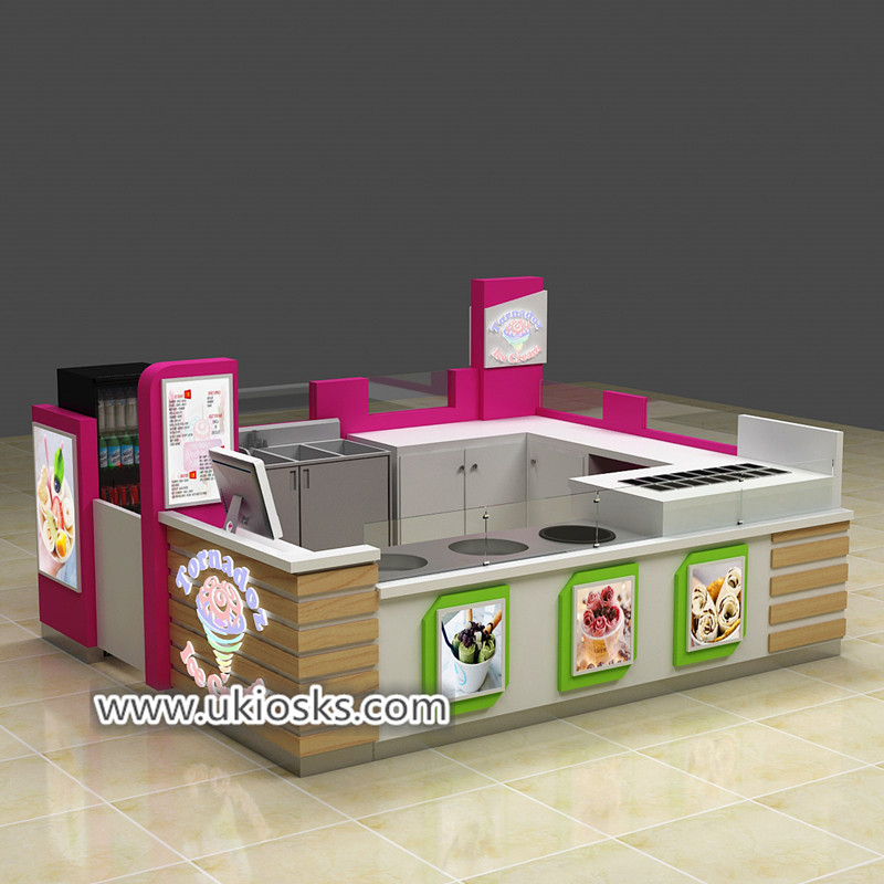Creativity mall food fried ice cream roll kiosk counter export USA