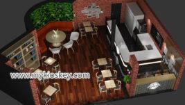 Retro bubble tea shop with bar counter for shopping mall