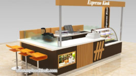 Best selling expresso coffee kiosk with bakery display showcase design