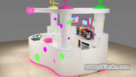 high end Creative bubble tea kiosk with colorful acylic light decoration design
