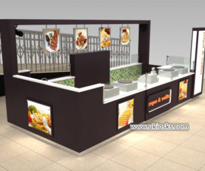 Eye-catching retail food Crepe & waffle kiosk design for shopping mall