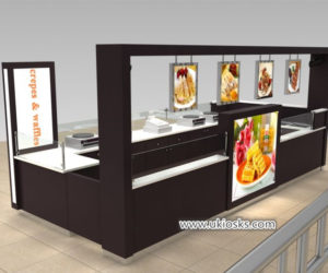 Creative wooden crepe & waffle kiosk design for shopping mall