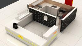 Modern commercial food crepe kiosk design for shopping mall