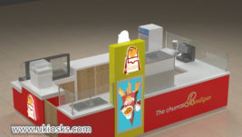 hot sale fast food snack churros display kiosk design in mall