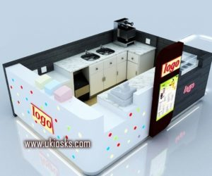 Modern commercial mall bubble tea kiosk with juice bar design for sale