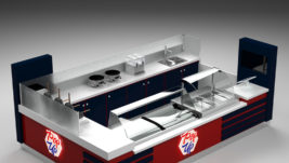 Fashion ice cream kiosk design with wooden counter for sale