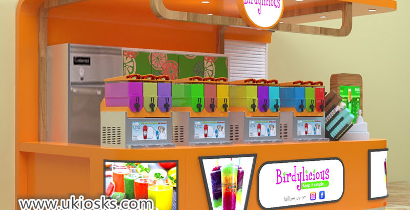 Best selling fresh juice bar kiosk with beverages display counter for sale